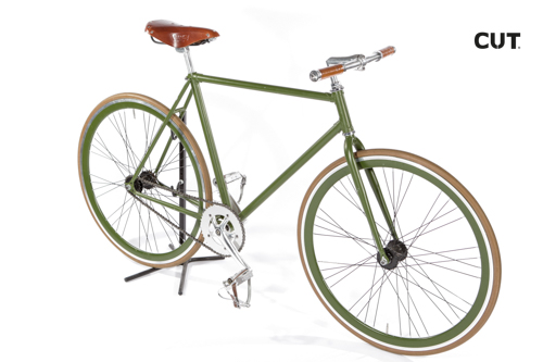 Fashion photography props bike fixed gear green leather 01