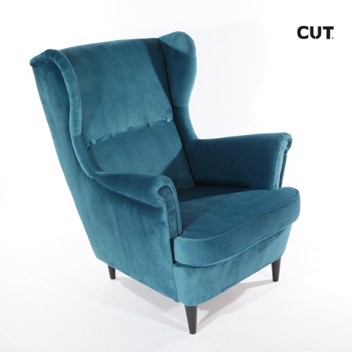 Fashion photography props blue confortable armchair 04