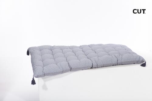 Fashion props in Mallorca cushion blue soft rectangular bench 01