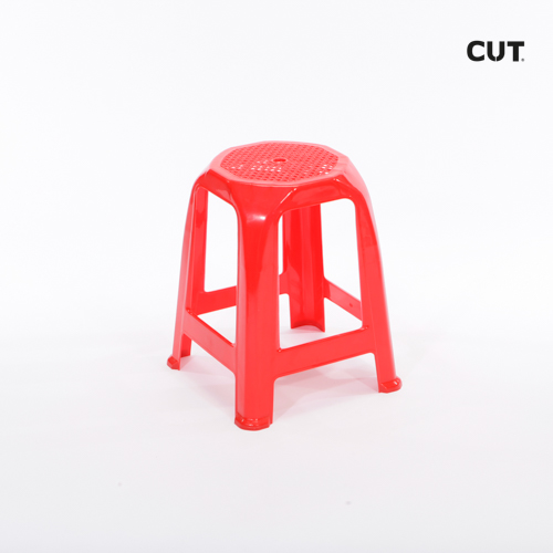 Fashion props in Spain chair red plastic short stool 02