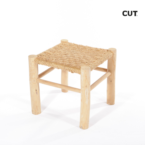 Fashion props in mallorca chair wood wicker brown stool 02