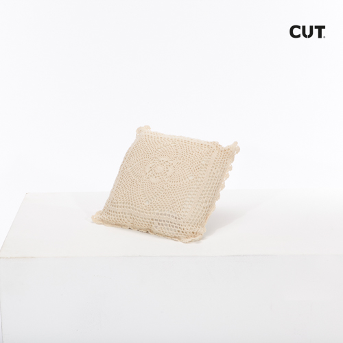 Photo session props cushion ivory soft embroided square 01