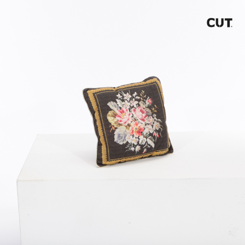 Photography props cushion brown flowers print square 01