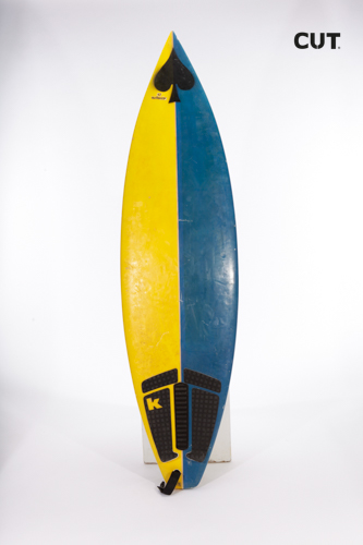 surf board yellow blue ace