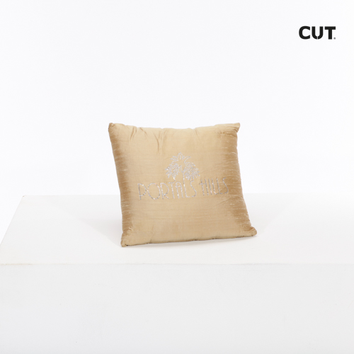 cushion golden shiny letters
