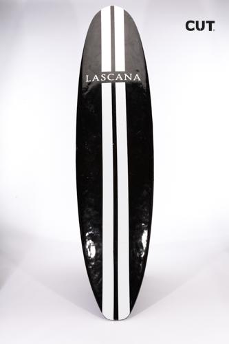 surf board black white stripes