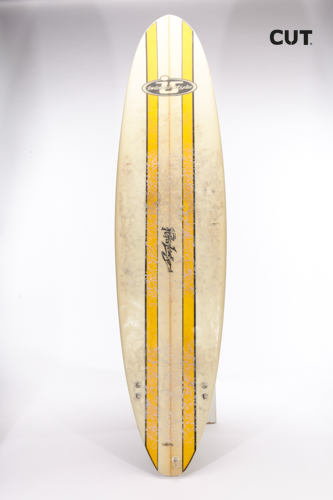 surf board yellow stripes white
